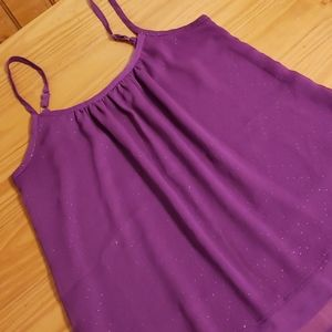 Mudd Flowy Purple Sparkle Layered Tank Top, M